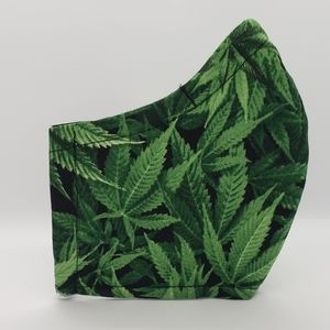 Handmade Face Mask * Green 420 Plant